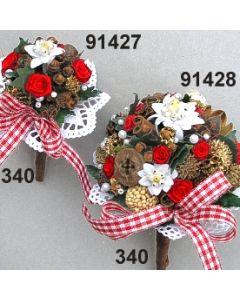 Edelweiss Bouquet / rot-weiß / 91428.340