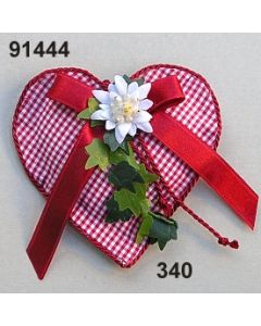 Karostoff-Herz Edelweis / rot-weiß / 91444.340