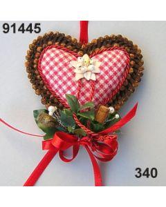 Nelken Karo Herz Edelweiss dekoriert / rot-weiß / 91445.340