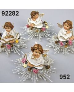 Engel auf Stern / silber-rosa / 92282.952
