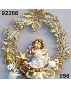 Engel im Blüten Kranz / gold-creme / 92286.956