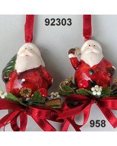 Keramik Weihnachtmann zum Hängen dekoriert / gold-rot / 92303.958