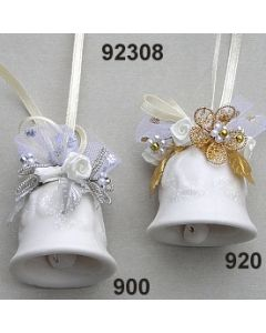 Porzellan Glockerl zum Hängen dekoriert  / 92308