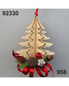 Holz-Tanne 3D dekoriert / gold-rot / 92330.958
