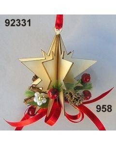 Holz-Stern 3D dekoriert / gold-rot / 92331.958