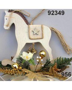 Holz-Schaukelpferd groß dekoriert / gold-creme / 92349.956