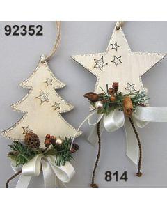 Holz Glimmer Stern/Baum dekoriert / braun-creme / 92352.814