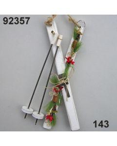Holzschi mit Stöcken dekoriert / weiß-rot / 92357.143
