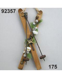 Holzschi mit Stöcken dekoriert / natur-weiß / 92357.175