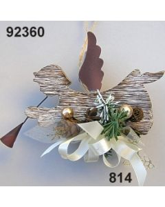 Holz Engel fliegend natur dekoriert / braun-creme / 92360.814