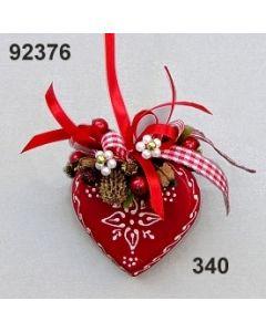 Holz-Herz Alpin dekoriert / rot-weiß / 92376.340
