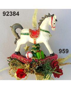 Poly-Schaukelpferd klein dekoriert / gold-weinrot / 92384.959