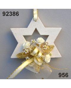 Holz-Stern weiß dekoriert / gold-creme / 92386.956