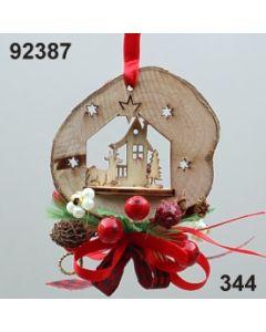 Holz Scheiben Motive dekoriert / rot-grün / 92387.344