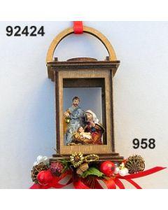 Holz-laterne mittel mit heiliger Familie  / gold-rot / 92424.958