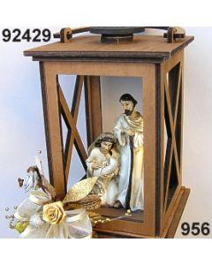 Holz-Laterne XL mit heiliger Familie dekoriert / gold-creme / 92429.956