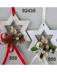Holz-Stern mit heiliger Familie dekoriert  / 92435