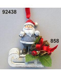 Santa auf Schlitten dekoriert / grau-rot / 92438.858
