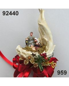 Krippe im Flügel klein dekoriert / gold-weinrot / 92440.959