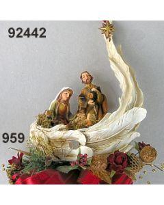 Krippe im Flügel groß dekoriert / gold-weinrot / 92442.959