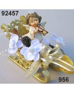 Engel in Glimmer-Schlitten dekoriert / gold-creme / 92457.956