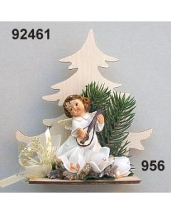 Engel vor Holztanne dekoriert / gold-creme / 92461.956
