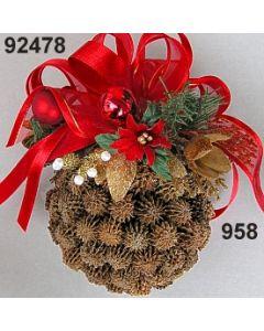 Casuarina Kugel dekoriert / gold-rot / 92478.958