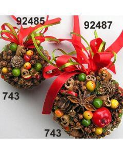 Früchte Kugel mit Band 6cm / grün-rot / 92485.743