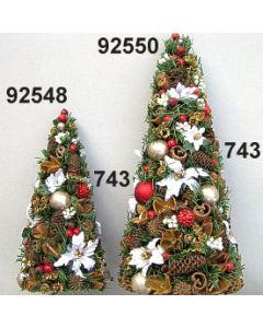 Tannenzweig Weihnachtstern Kegel klein / grün-rot / 92548.743