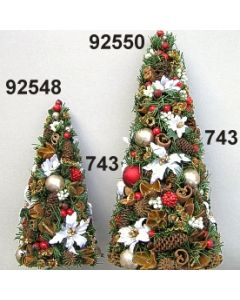 Tannenzweig Weihnachtstern Kegel / grün-rot / 92550.743