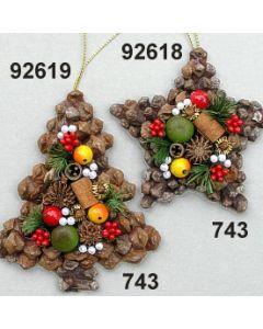 Zapfenornament Baum / grün-rot / 92619.743
