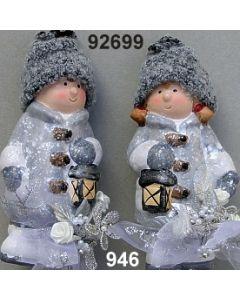 Keramik Winter-Kind stehend dekoriert / silber-creme / 92699.946