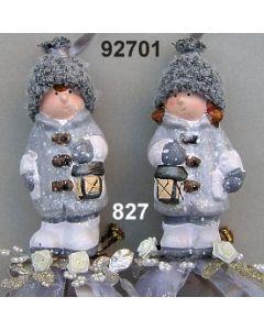 Keramik Winter-Kind zum Hängen dekoriert / graubraun / 92701.827