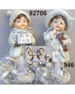 Poly Winter-Kind stehend / silber-creme / 92706.946