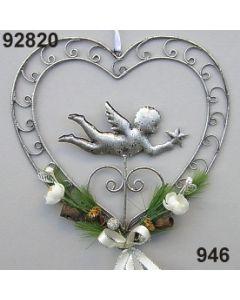 Metall-Herz mit Engel dekoriert / silber-creme / 92820.946