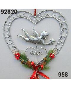 Metall-Herz mit Engel dekoriert / gold-rot / 92820.958