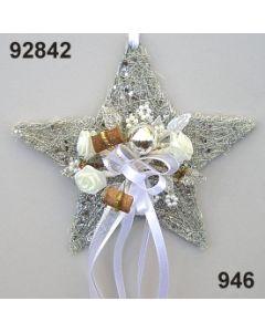 Sisal-Stern klein dekoriert / silber-creme / 92842.946
