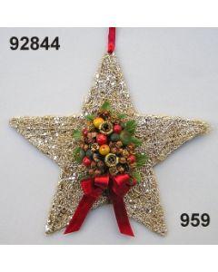 Sisal-Stern mit Gewürzdeko / gold-weinrot / 92844.959