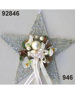 Sisal-Stern mittel dekoriert / silber-creme / 92846.946