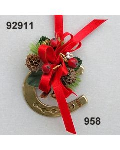 Messing Hufeisen klein dekoriert / gold-rot / 92911.958
