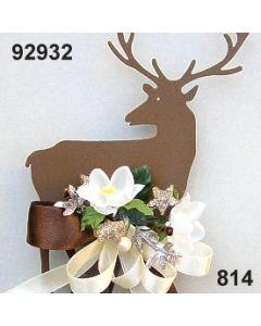 Metall Hirsch auf Stab dekoriert / braun-creme / 92932.814