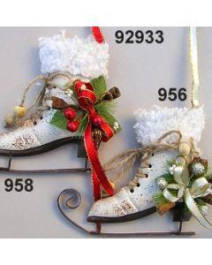 Metall Schlittschuh mit Wolle dekoriert 92933