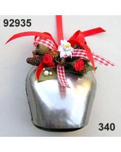 Metall Kuhglocke mittel dekoriert / rot-weiß / 92935.340