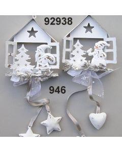 Metall Haus Motiv 2 Set dekoriert / silber-creme / 92938.946