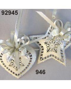 Metall glimmer Ornament Stern & Herz / silber-creme / 92945.946
