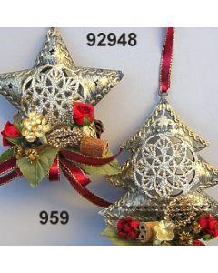 Metall Glimmer Barock Stern & Baum / gold-weinrot / 92948.959