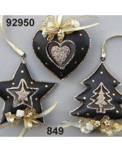 Metall Glimmer Stern/Herz/Baum / schwarz-gold / 92950.849