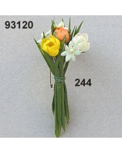 Röschen Gras Büscherl inkl. Nadel / gelb-orange / 93120.244
