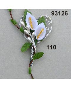 Calla mit Silberherz Anstecker / weiß / 93126.110