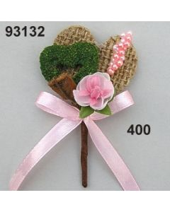 Mandelknospe Juteherz Anstecker  / rosa / 93132.400